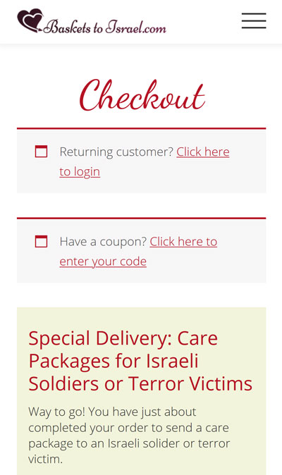 free shipping for IDF soldiers